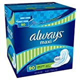 6 Wholesale Lots Always Long Super Maxi Pads with Flexi Wings, 540 Pads Total