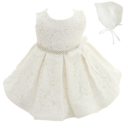 Coozy Baby Girls Dress Infant Princess Christening Baptism Party Birthday Formal Dress (Ivory (Style 1), 18M/16-20months) (White Cotton Christening Gown)
