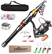 Fishing Rod Set, FISHOAKY Carbon Fiber Telescopic Spinning Fishing Pole and Reel Combo Fishing Gear with Line