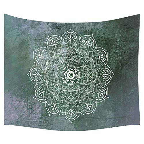 Green Tapestry - Simsant Lotus Tapestry Flower Psychedelic Mandala Bohemian Classical Wall Hanging Blanket (Green,80x60inches (203.2x152.4CM)