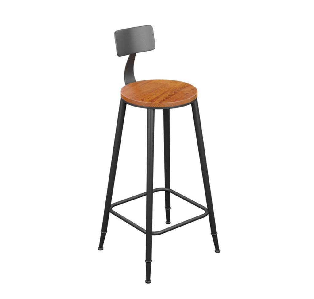 Leather 73CM LUHEN Barstool Vintage Style Round Wrought Iron Bar Stools Wooden Bar Stools for Kitchens Leather Cushion Breakfast Chair Black (Seat Height 45 60 68 73 78 85 cm) (color   Wood, Size   60CM)
