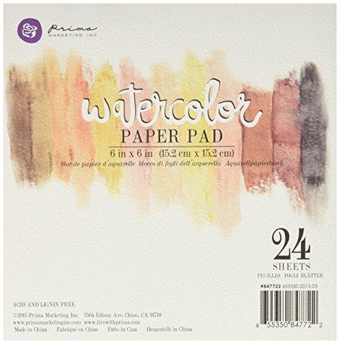 Prima Marketing 655350847722   Watercolor Paper Pad, 6-Inch, 24pc 140lbs cold press