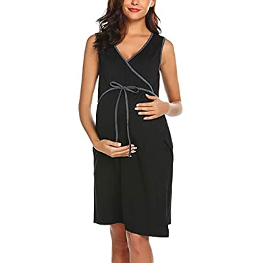 f75f7e7028e02 EDTO Women Pregnant Dress, Solid Colcor Nursing Breastfeeding Skirt Black