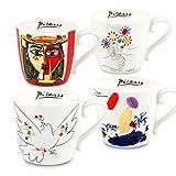 Konitz Picasso Assorted Bone China Mugs (Set of 4), White