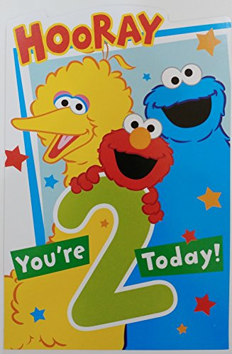 Sesame Street Happy 2nd Birthday Greeting Card - Hooray You're 2 Today