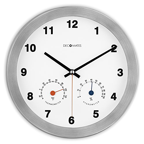 decomates-non-ticking-silent-wall-clock-with-built-in-thermometer-fahrenheit-hygrometer-modern-multi