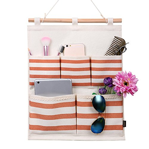 fabric wall hangings australia art for sale linen cotton door cloth hanging storage bag case pocket home organizer coffee stripe panel diy