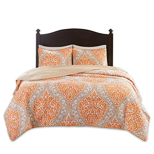 Comfort Spaces Coco 3 Piece Quilt Coverlet Bedspread Ultra Soft Printed Damask Pattern Hypoallergenic Bedding Set, Full/Queen, Orange - Taupe (Renewed)
