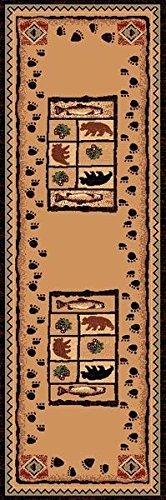 2 X 7 Rug Runner Country Theme Fish Bear Paw Print Brown Cabin Lodge Rug