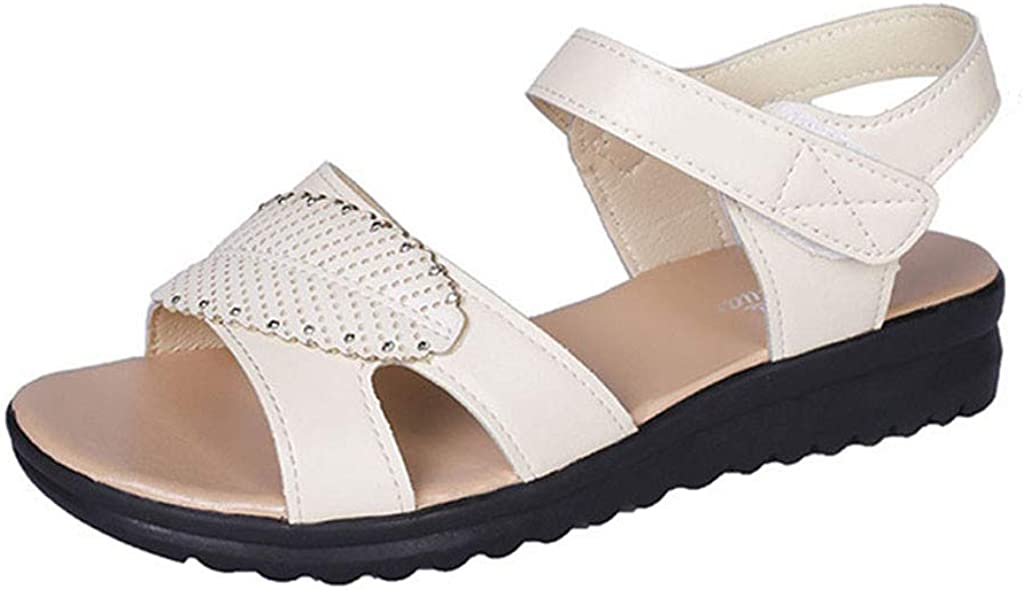 XLnuln Womens Fashion Sandals Retro Sandals Casual Flat Bottomed Sport Sandals Non-Slip Beach Shoes