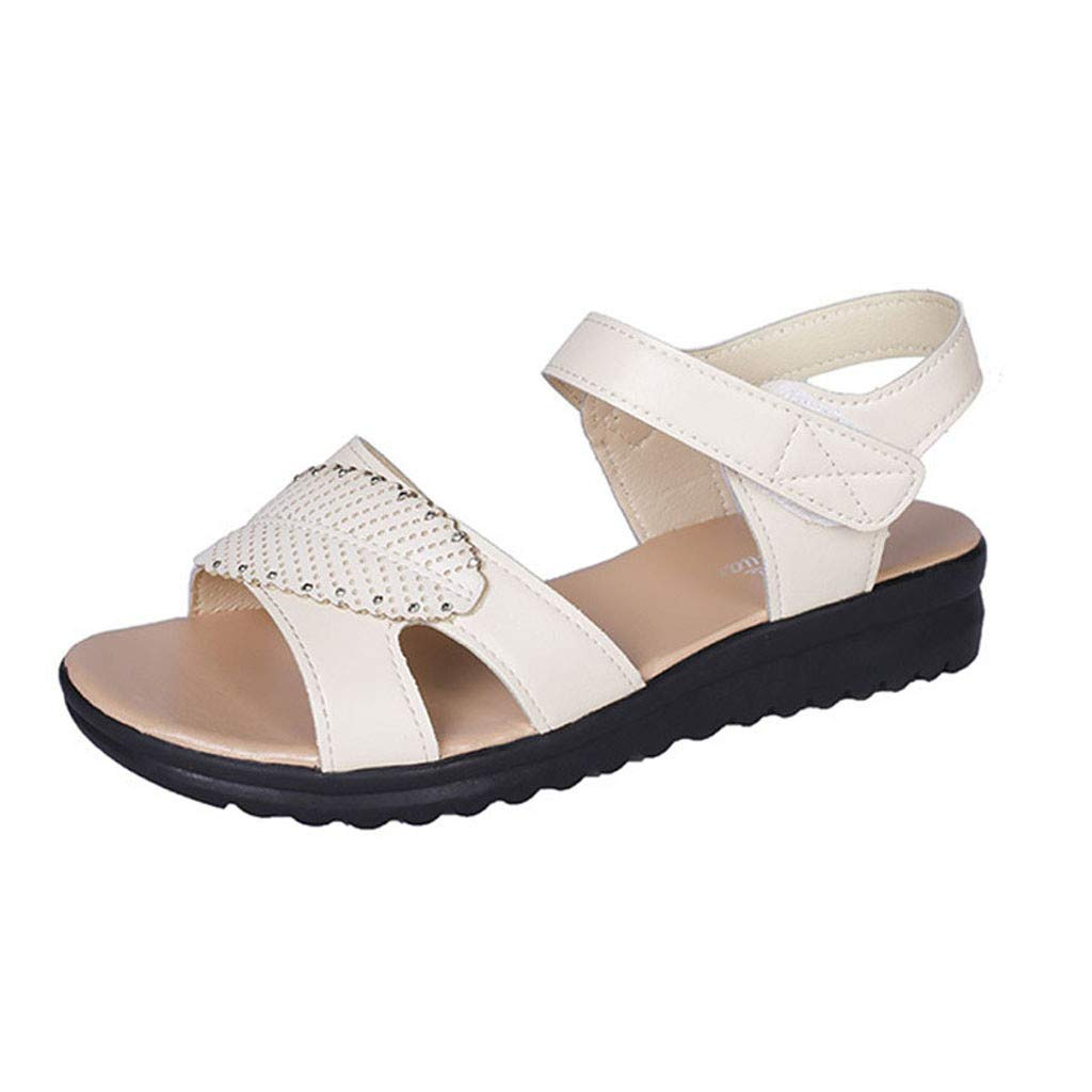 2019 New Women's Retro Mother Sandals Flat Bottomed Causal Comfortable Sandals Non-Slip Beach Flat with Round Toe Shoes (White, 7)