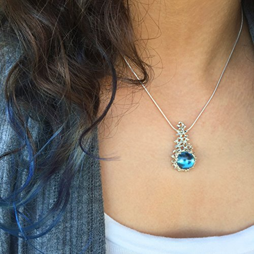 Sterling Silver, Large 12mm Created London Blue Topaz Gemstone, Coral Reef Statement Pendant Necklace, 18