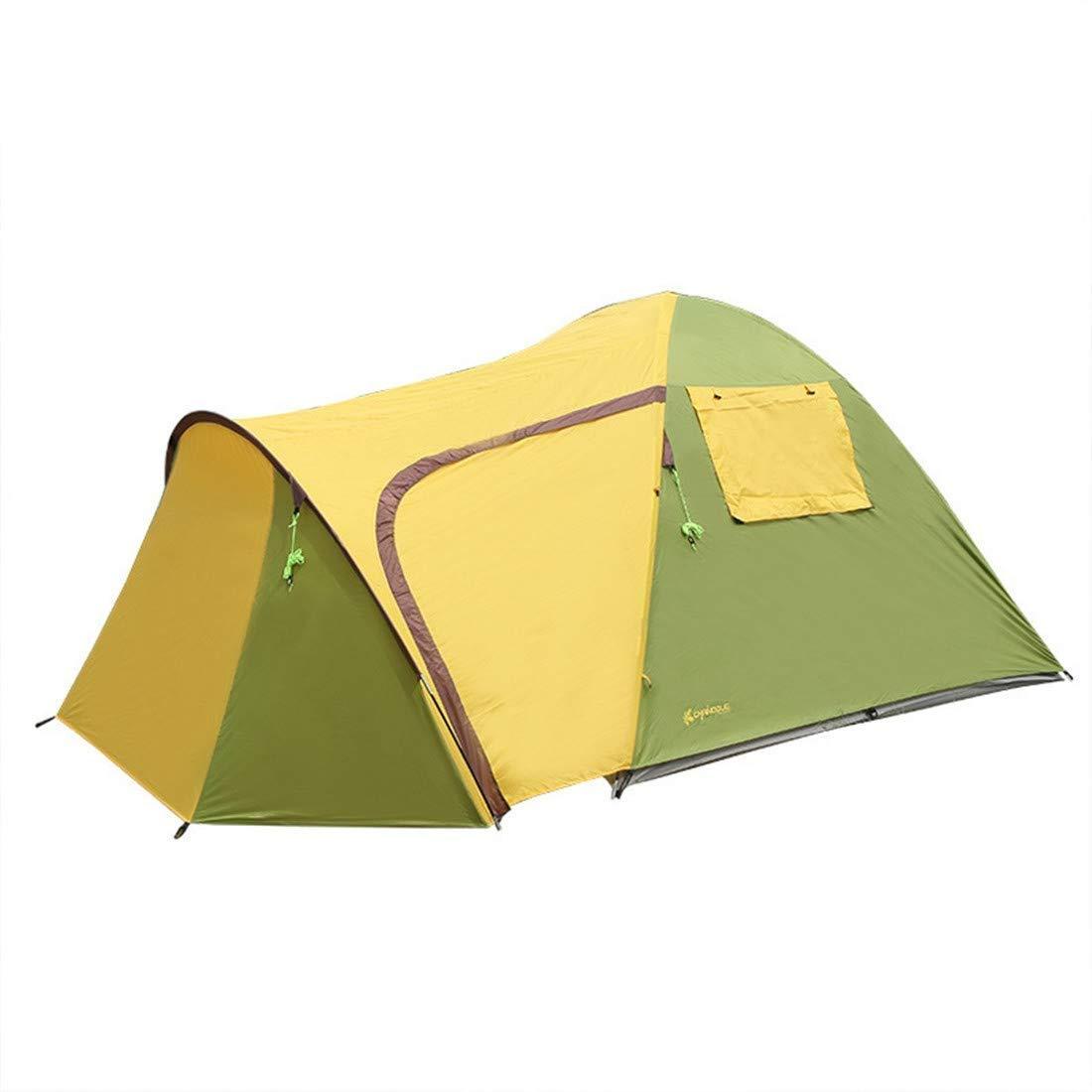 屋外キャンプテント3-4人二重層超軽量ポータブル折りたたみ日焼け止め防水家族の友達旅行ビーチピクニックパーク芝生   B07QYFS32Z
