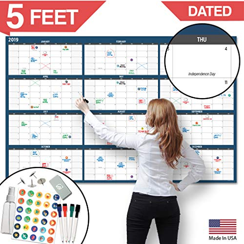 "Large Dry Erase Wall Calendar - 60"" x 38"" - 2019 Dated Giant Yearly Whiteboard Poster - Reusable Annual Year Planner - Laminated Office Jumbo 12 Month Calendar (Blue)"