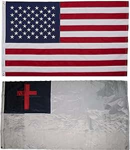 Estados Unidos y cristiana Cristo Jesús Religiosa bandera 3x 5bandera de bordado 2doble cara al por mayor Lot casa Banner con doble costura resistente a la decoloración Premium calidad