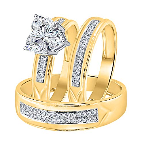 Heart Shaped 2.80cttw White CZ Diamond 14K Yellow Gold Plated Wedding Ring Trio Bridal Set for Him & Her