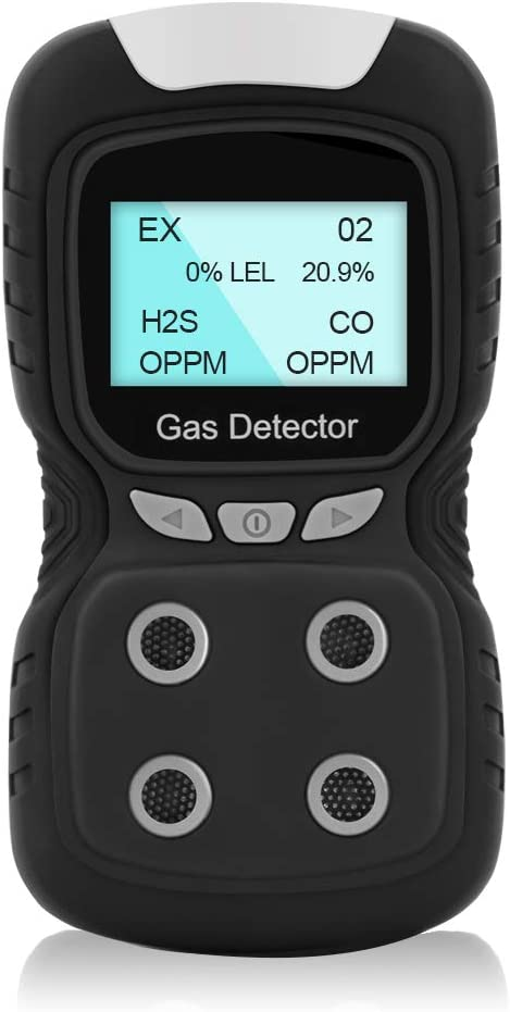 HZXVOGEN Portable Gas Detector Gas Clip 4-Gas Monitor Meter Tester Analyzer Rechargeable LCD Display Sound Light Shock Air Quality Tester – Ready to Use