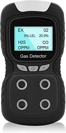 HZXVOGEN Portable Gas Detector Gas Clip 4-Gas Monitor Meter Tester Analyzer Rechargeable LCD Display Sound Light Shock Air Quality Tester Ready to Use