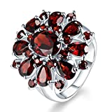 Inlaid Pomegranate Ruby Ring,Fimkaul Fashion Full Diamond Cluster Engagement Promise Ring Mother Day Gift (8, Multicolor)
