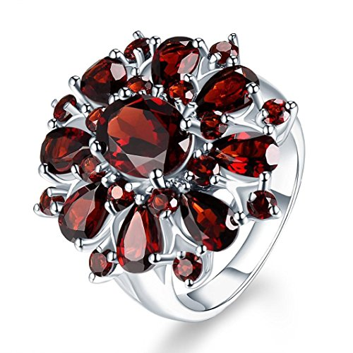 (Inlaid Pomegranate Ruby Ring,Fimkaul Fashion Full Diamond Cluster Engagement Promise Ring Mother Day Gift (7, Multicolor))