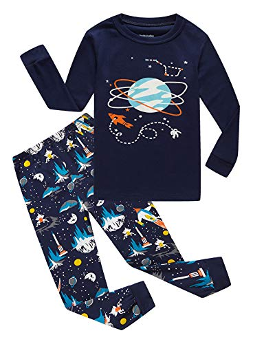 Family Feeling Space Little Boys Long Sleeve Pajamas Sets 100% Cotton Pyjamas Kids Pjs Size 5 Blue]()