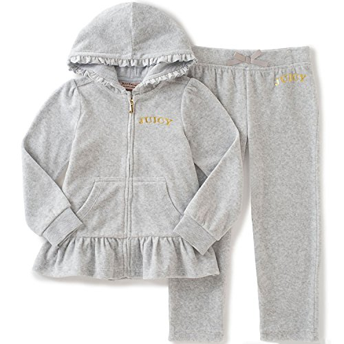 Juicy Couture Baby Girls' 2 Piece Velour Hooded Jacket and Pant Set, Gray, 12 Months