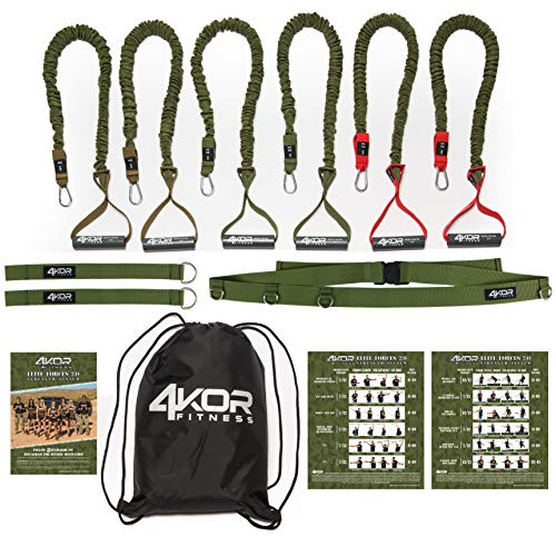 Resistance Cord Set by 4KOR Fitness, Strength and Performance System (3 Levels w/Door Strap) by 4KOR Fitness (Image #1)