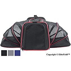 "EliteField Expandable Soft Pet Carrier (3 Year Warranty, Airline Approved), Multiple Sizes Colors Available (20"" L x 12"" W x 11"" H, Black)"