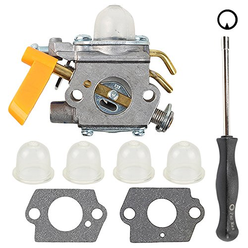 Butom C1U-H60 Carburetor with Gasket Adjustment Tool Primer Bulb for 25cc 26cc 30cc Ryobi Homelite String Trimmer Brush Cutter Blower 308054013 308054012 308054004 (Homelite Carburetor)