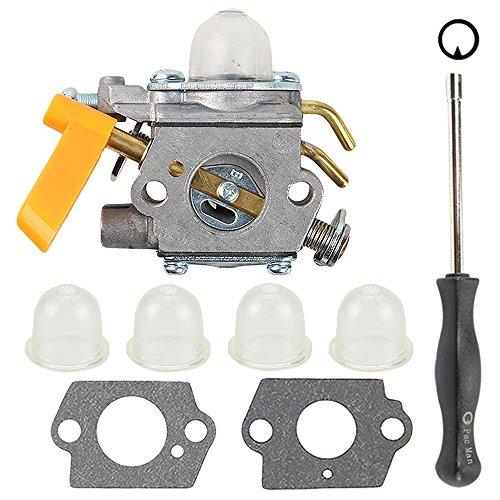 Butom C1U-H60 Carburetor with Gasket Adjustment Tool Primer Bulb for 25cc 26cc 30cc Ryobi Homelite String Trimmer Brush Cutter Blower 308054013 308054012 308054004 308054008
