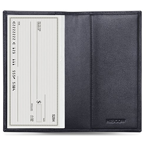 HISCOW Classy Standard Checkbook Cover with Free Divider - Italian Calfskin - Black Leather Checkbook Cover