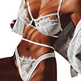 HongXander Women Lingerie Corset Lace Bandage Push Up Top Bra+Pants Underwear Set (S, White)