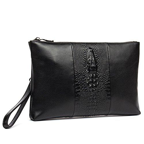 first 2 clutch pattern men's crocodile D8107 handbag bag layer Black cowhide DANJUE OFngxpvp
