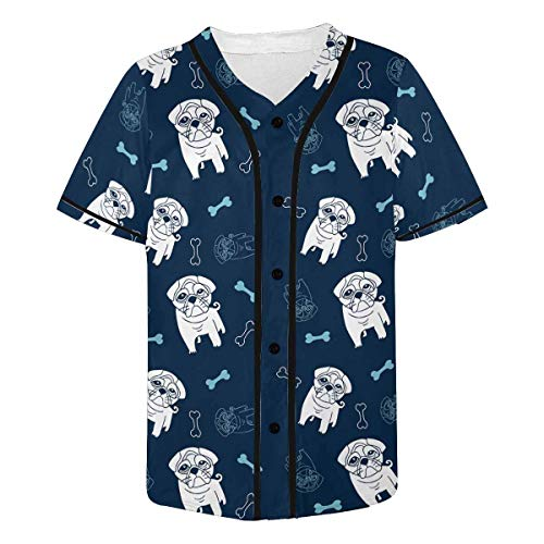 InterestPrint French Bulldog Baseball Jersey Button Down T-Shirt for Men XS