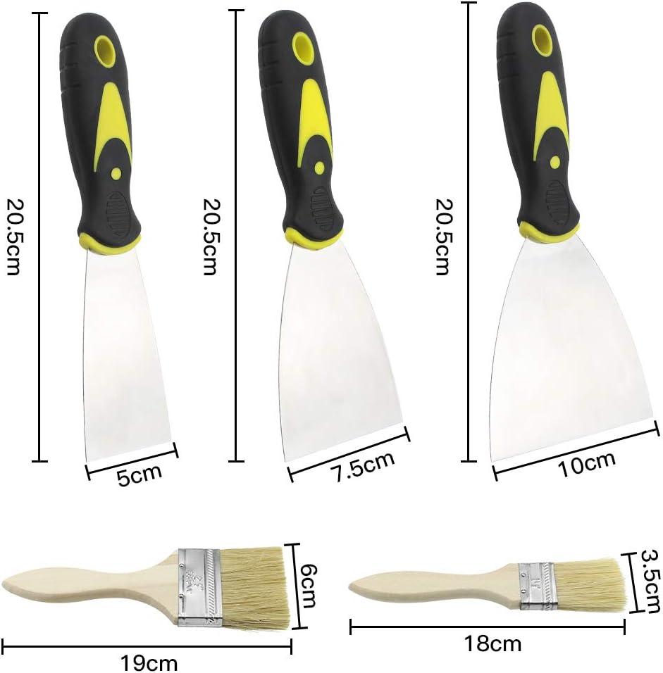 UBERMing 3 Piezas Esp/átulas de Acero Inoxidable Espatulas para Masilla con Mango de Pl/ástico Raspador de Papel Pintado con 2 Cepillos de Pintura de Madera Quitar Esp/átula para Masilla et Papel Tapiz