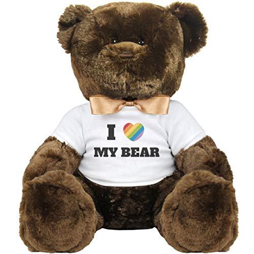 Customized Girl I Heart My Gay Bear: 14 Inch Teddy Bear Stuffed Animal -