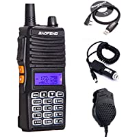 Baofeng UV-82(II) Tri-Power 8W/4W/1W Two Way Radio (Upgraded Version of UV-82), Dual Band 136-174/400-520MHz True 8W High Power + 1 USB Programming Cable + 1 Car Charger Cable + 1 2-PTT Speaker