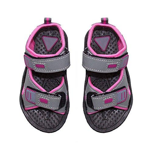 Skysole Girls Double Adjustable Strap Lightweight Sandals Grey & Pink Size 7/8 US Toddler