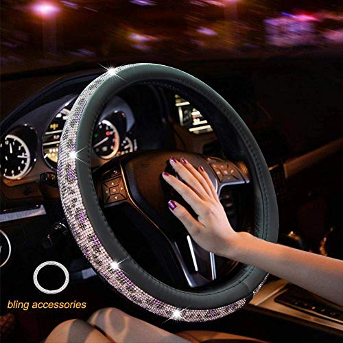Crystal Diamond Steering Wheel Cover, PU Leather with Colorful Leopard Bling Bling Rhinestones, Universal 15inch / 38cm for Women Girls, Purple ()