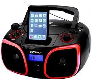 Sunstech CR-UM376I - Radio CD, MP3, Dock station, USB, color negro y rojo (importado)