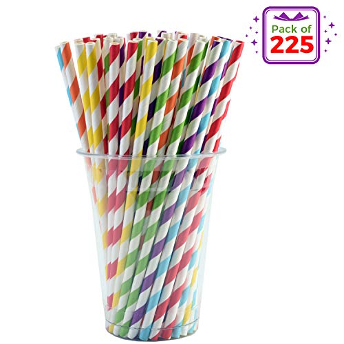 Price comparison product image Vandore 225pcs of Striped Biodegradable Paper Straws in a Bulk Pack - 6 Rainbow Colors - Paper Drinking Straws for Birthday Parties and Decorations