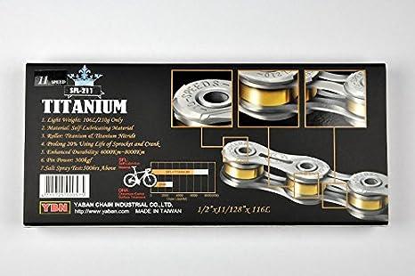 Silver Super Lightweight YBN Titanium 11 Speed Bike Chain SLA 211 US Seller