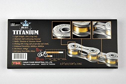 YBN Super-light SLA-211 SFL-211 Titanium 11 Speed Bike Chain Cycling 207g (Silver)
