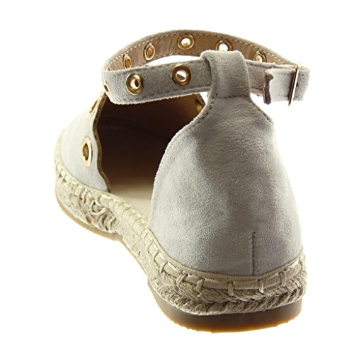 Espadrillas Scarpe Cinturino Moda Grigio Tacco Perforato Chiaro a Donna Sandali Corda alla cm Angkorly Caviglia 2 d'oro con Blocco EqpxfpF