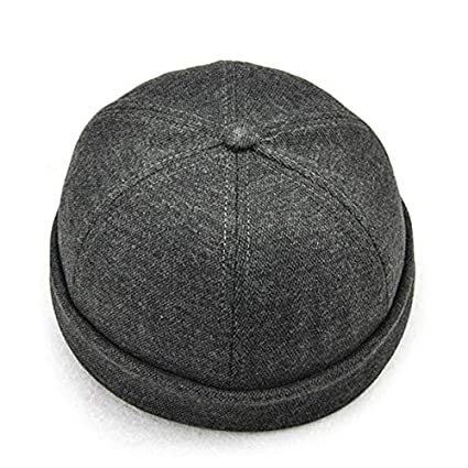 Amazon.com   SENREAL Hat Men Solid French Brimless Hat Flanging ... 1c8315264e8a
