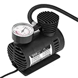 Qiilu 12V 300 PSI Tire Inflator Pump Air Compressor Electric Portable Quiet Emergency Mini Little Compressors with Pressure Gauge for Auto Car Motorcycle Bicycle SUV Truck Basketballs