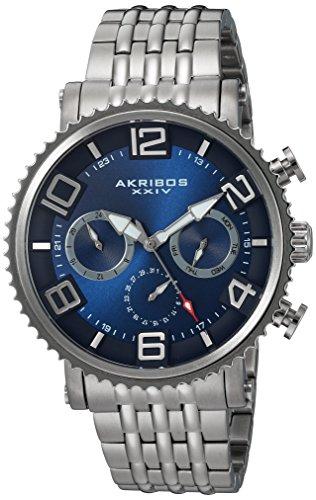 Akribos XXIV Men's Quartz Multi-Function Silver-Tone Accented Blue Sunray Dial on Silver-Tone Stainless Steel Bracelet Watch AK917SSBU