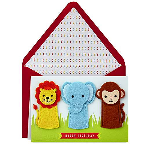 Hallmark Signature Birthday Card with Removable Finger Puppets for Kids (Jungle Animals)