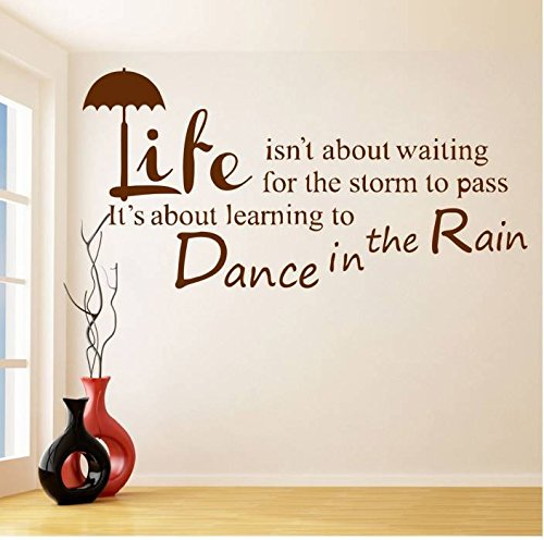 Quote wall stickers mural Art Wall Decal Removable Wallpaper Vinyl Sticker Life isn't about waiting for the storm to pass Dance In The rain Home -