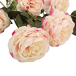 Rm.Baby 1Pcs 3 Heads Artificial Fake Flowers Peony Floral Real Touch Looking PU Material for Party Wedding Decor, Garden Craft Art,Office Centerpiece Home Decor(Vase not Included) 49